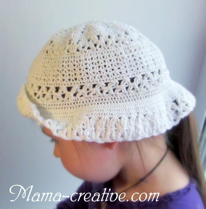 Белая шляпа крючком