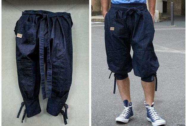 Джинсовые шорты хакама