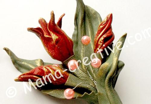 Из кожи - букетик тюльпанов своими руками