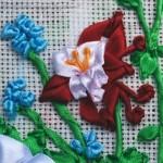 Как вышить букет цветов лентами по картинке