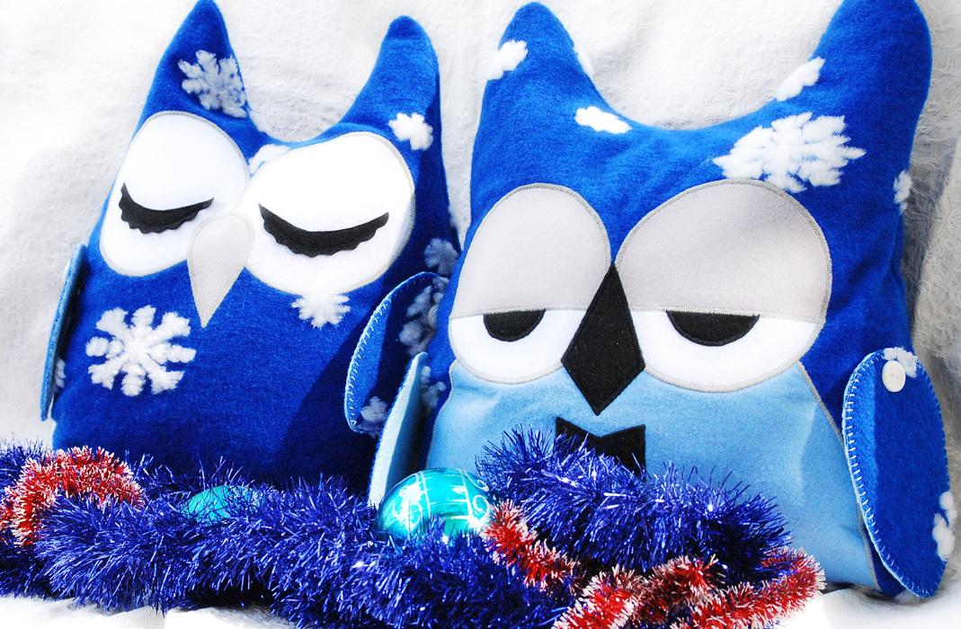 совы сплюшки, подушки на новый год