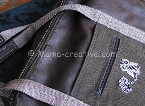 прорезной карман в рамку на сумке
