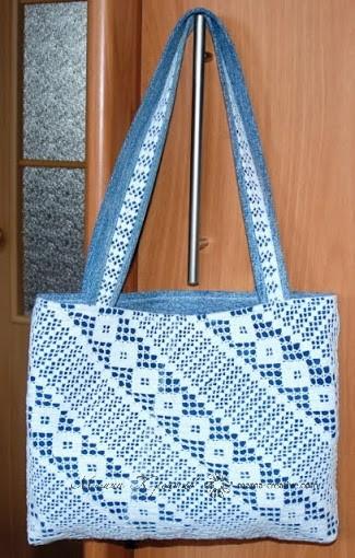 сумка из джинс и вязаного полотна