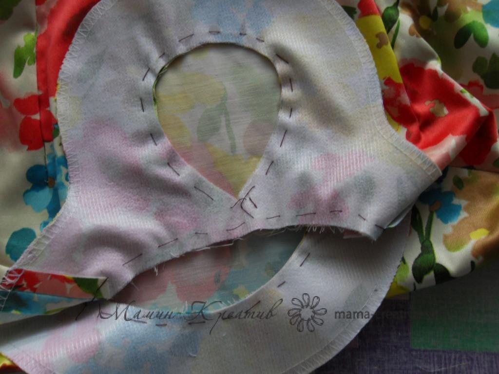 обтачка горловины платья