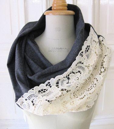 шарф с ажурной вставкой