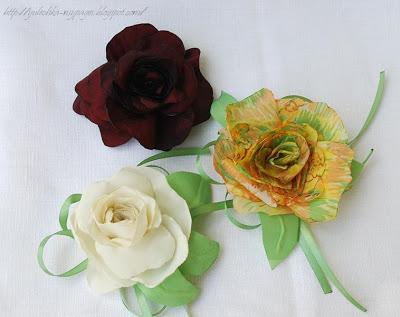 Брошки и заколки розы из ткани