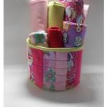 Круглая текстильная корзинка в технике пэчворк