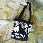 Черно-белая сумка из хлопка и вельвета № 2