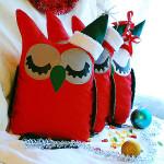 Подушки-совы новогодние