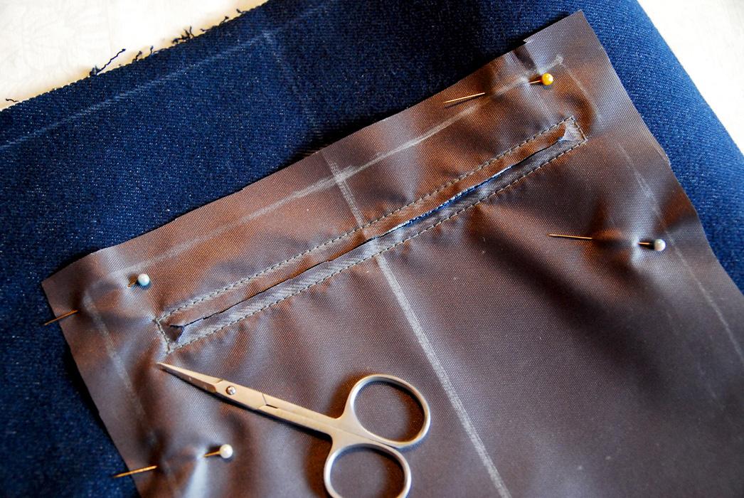 Подклад к прорезному карману