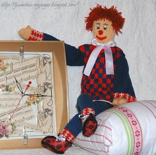 игрушка клоун, вязание спицами