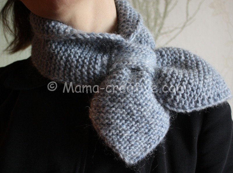 Короткий шарф петля спицами