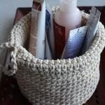 Рукодельные хитрости: вяжем крючком корзинку для мелочей из верёвки