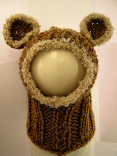 вязаный снуд-мишка